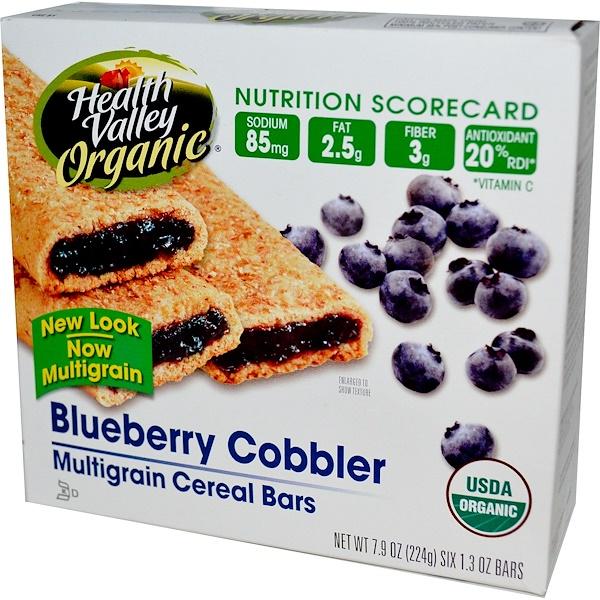 Health Valley, Organic Multigrain Cereal Bars, Blueberry Cobbler, 6 Bars, 37 g Each