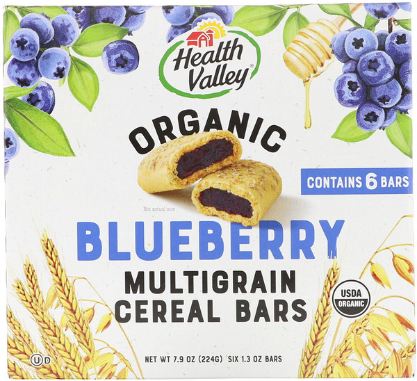 Health Valley, Organic Multigrain Cereal Bars, Blueberry, 6 Bars, 1.3 oz (37 g) Each