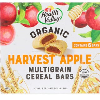 Health Valley, Organic Multigrain Cereal Bars, Harvest Apple, 6 Bars, 1.3 oz Each