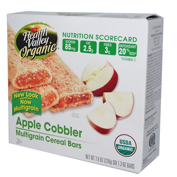Health Valley, Органические мультизерновые батончики, яблоко, 6 батончиков, 1,3 унции каждый