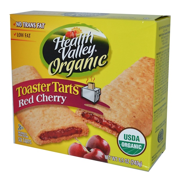Health Valley, Organic Toaster Tarts, Red Cherry, 6 Tarts, 40 g Each (Discontinued Item)