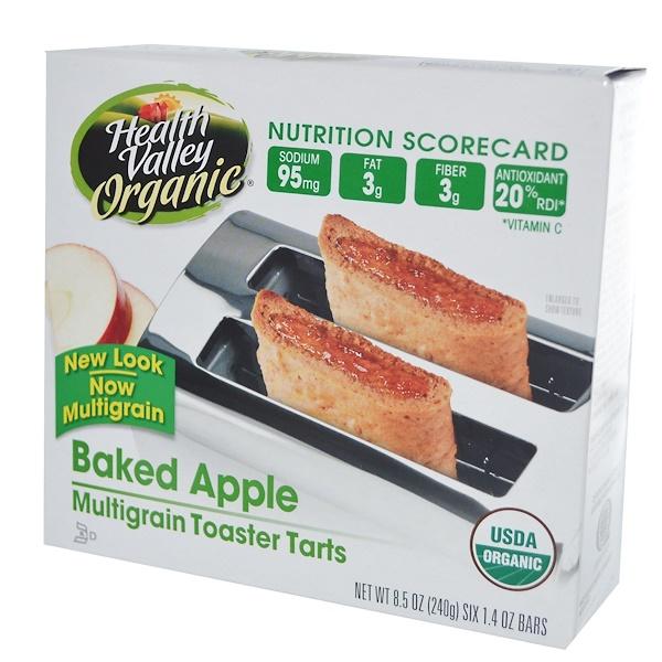 Health Valley, Organic Multigrain Toaster Tarts, Baked Apple, 6 Bars, 1.4 oz (40 g) Each (Discontinued Item)