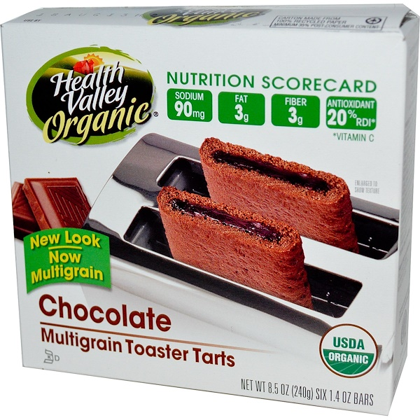 Health Valley, Organic Multigrain Toaster Tarts, Chocolate, 6 Bars, 40 g Each (Discontinued Item)