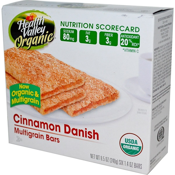 Health Valley, Multigrain Bars, Cinnamon Danish, 6 Bars, 40 g Each (Discontinued Item)