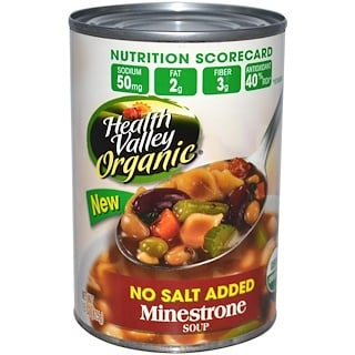 Health Valley, Organic, Minestrone Soup, No Salt Added, 15 oz (425 g)