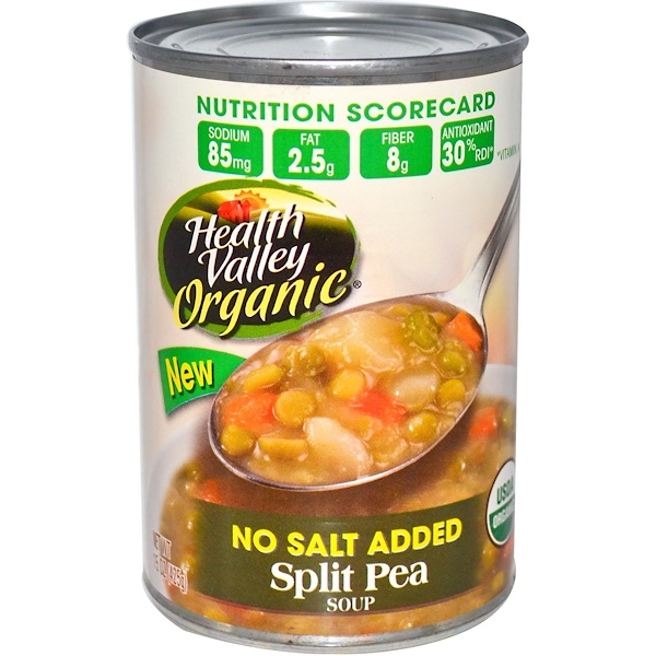 Health Valley, Organic, Split Pea Soup, No Salt Added, 15 oz (425 g)
