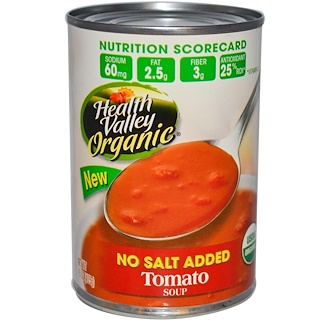 Health Valley, Organic, Tomato Soup, No Salt Added, 15 oz (425 g)
