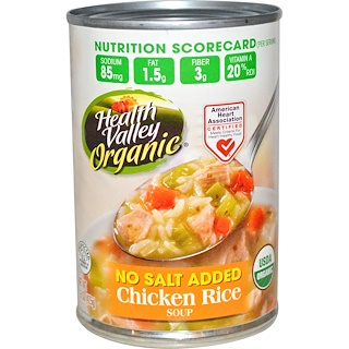 Health Valley, Organic Soup, Chicken Rice, 15 oz (425 g)