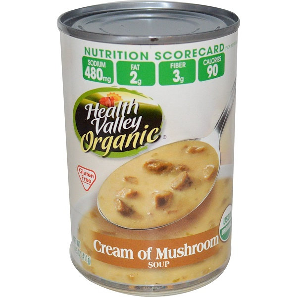 Health Valley, Organic, Cream of Mushroom Soup, Gluten Free, 14.5 oz (411 g)