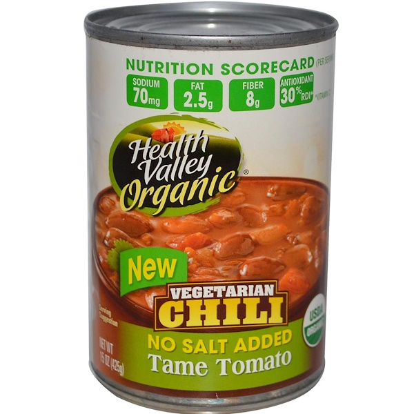 Health Valley, Organic, Vegetarian Chili, Tame Tomato, No Salt Added, 15 oz (425 g) (Discontinued Item)