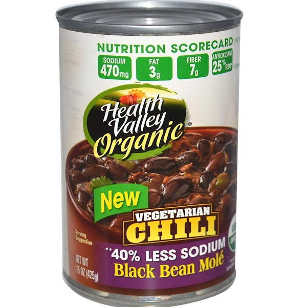 Health Valley, Organic, Vegetarian Chili, Black Bean Molé, 15 oz (425 g) (Discontinued Item)