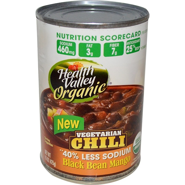 Health Valley, Organic, Vegetarian Chili, Black Bean Mango, Spicy, 15 oz (425 g) (Discontinued Item)