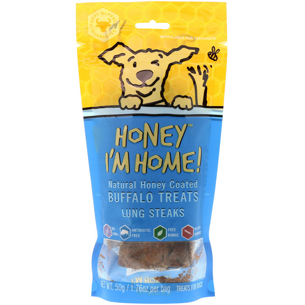 Honey I'm Home, Natural Honey Coated Buffalo Treats, Lung Steaks, 1.76 oz (50 g)