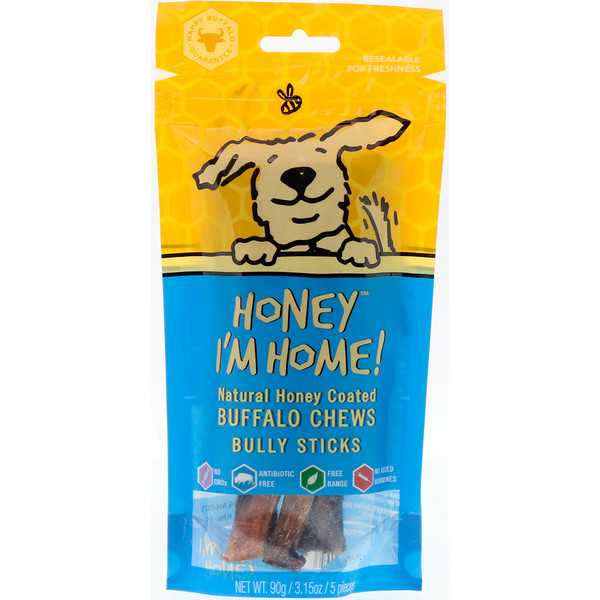 Honey I'm Home, Natural Honey Coated Buffalo Chews, Bully Sticks, 5 Pieces, 3.15 oz (90 g)
