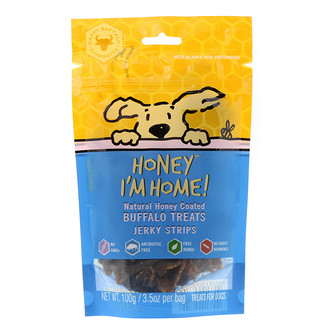 Honey I'm Home, Natural Honey Coated Buffalo Treats, Jerky Strips, 3.5 oz (100 g)