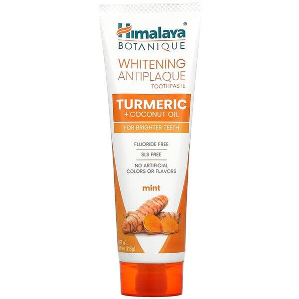 Whitening Antiplaque Toothpaste, Turmeric + Coconut Oil, Mint ,  4.0 oz ( 113 g)