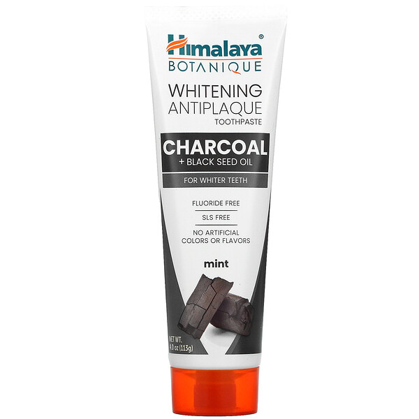 Whitening Antiplaque Toothpaste, Charcoal + Black Seed Oil, Mint , 4.0 oz (113 g)