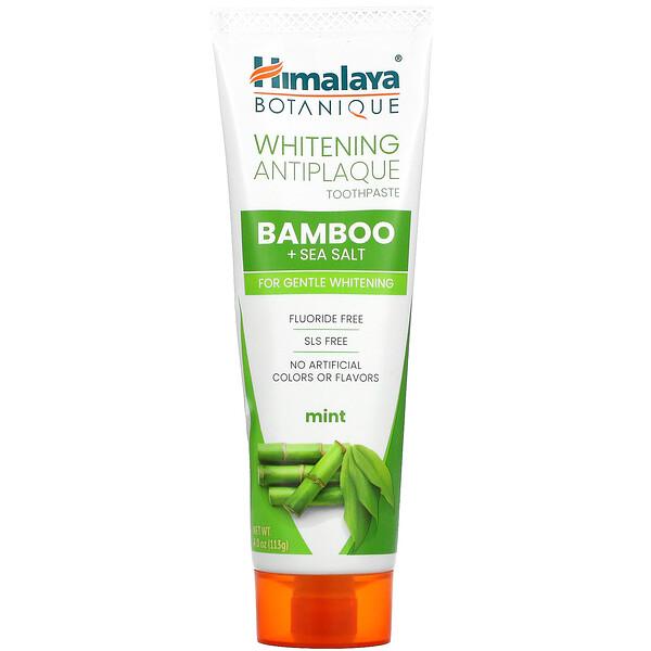 Whitening Antiplaque Toothpaste, Bamboo + Sea Salt, Mint, 4.0 oz ( 113 g)