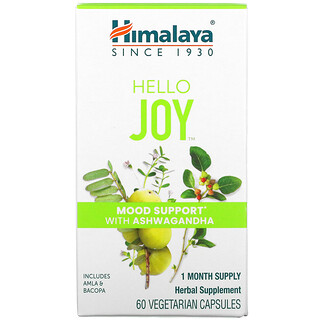 Himalaya, Hello Joy, Mood Support With Ashwagandha, 60 Vegetarian Capsules