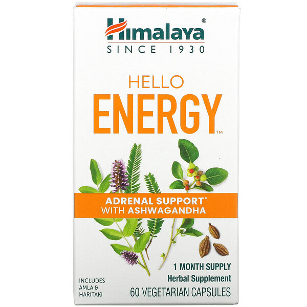 Himalaya, Hello Energy, Adrenal Support With Ashwagandha, 60 Vegetarian Capsules