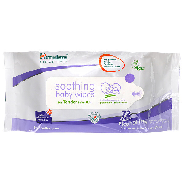 Soothing Baby Wipes, Alcohol Free, 72 Wipes