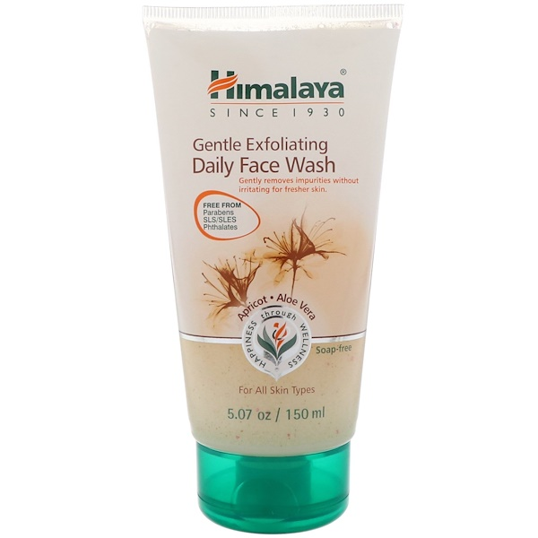 Himalaya, Gentle Exfoliating Daily Face Wash, Apricot-Aloe Vera, For All Skin Types, 5.07 oz (150 ml)