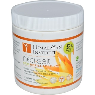 Himalayan Institute, Neti•Salt, エコ詰め替え可能容器, 12 oz (340.2 g)