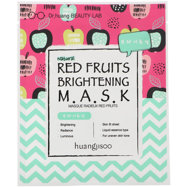 Huangjisoo, Red Fruits Brightening Mask, 1 Sheet, 25 ml