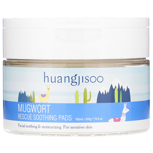 Huangjisoo, Mugwort, Rescue Soothing Pads, 60 Pads, 7.76 fl oz (220 g)