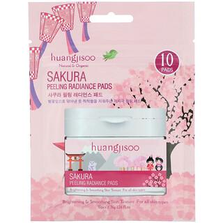 Huangjisoo, Sakura, Peeling Radiance Pads, 10 Pads, 1.26 fl oz (36 g)