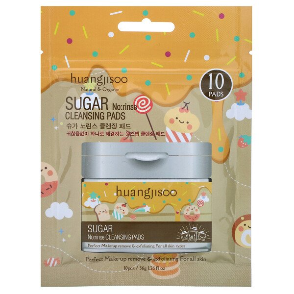 Sugar, No:rinse Cleansing Pads, 10 Pads
