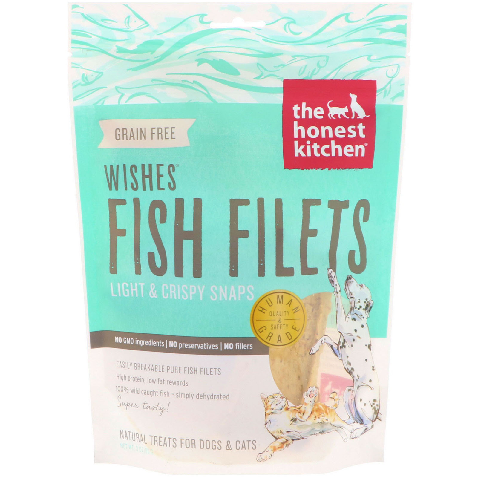 The Honest Kitchen Wishes Fish Filets Light Crispy Snaps For Dogs And Cats 3 Oz 85 G