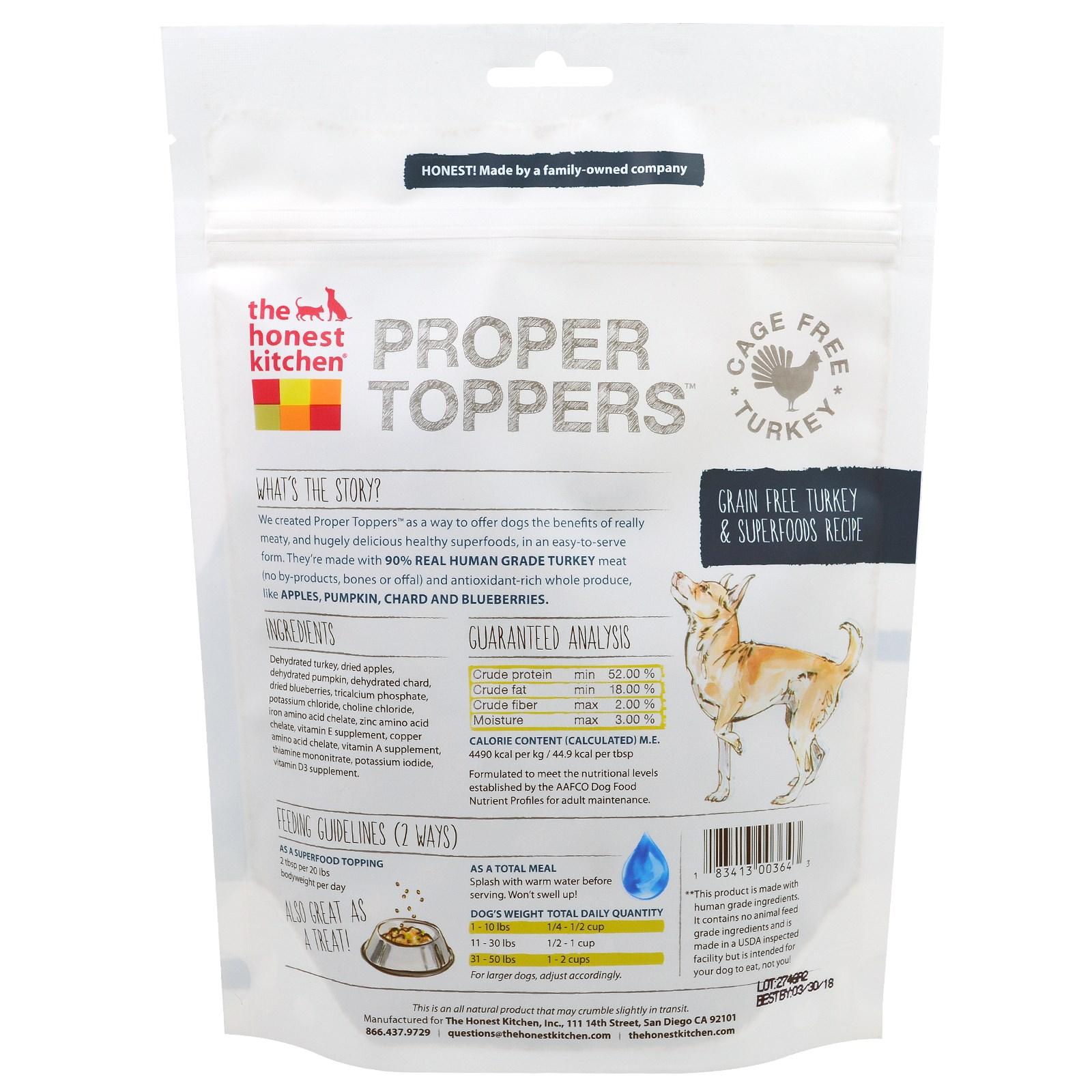 The Honest Kitchen, Proper Toppers Grain Free Turkey Recipe, 5.5 oz ...