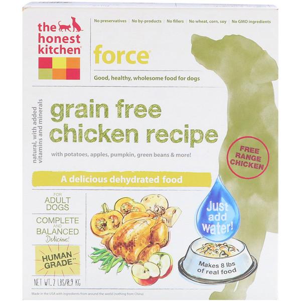 The Honest Kitchen, فورس، طعام مجفف للكلاب خالي من الحبوب، وصفة الدجاج، 2 رطل (0.9 كجم) (Discontinued Item)