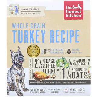 The Honest Kitchen, Dehydrated Whole Grain Dog Food, Turkey Recipe, 2 lbs (0.9 kg)