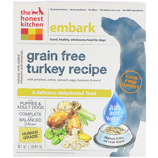 The Honest Kitchen, Embark, Grain-Free Dehydrated Dog Food, Turkey Recipe, 2 lbs (0.9 kg)