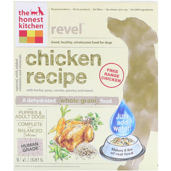 The Honest Kitchen, Revel, Dehydrated Whole Grain Dog Food, Chicken Recipe, 2 lbs (0.9 kg)