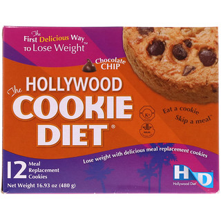 Hollywood Diet, The Hollywood Cookie Diet, Chocolate Chip, 12 Meal Replacement Cookies