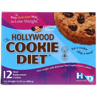 Hollywood Diet, The Hollywood Cookie Diet, avena y pasas, 12 galletitas sustitutos de comidas