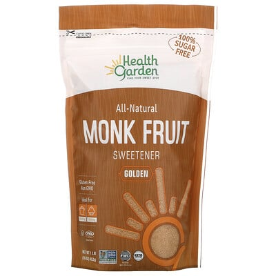 Купить Health Garden All Natural Monk Fruit Sweetener, Golden, 16 oz (453 g)
