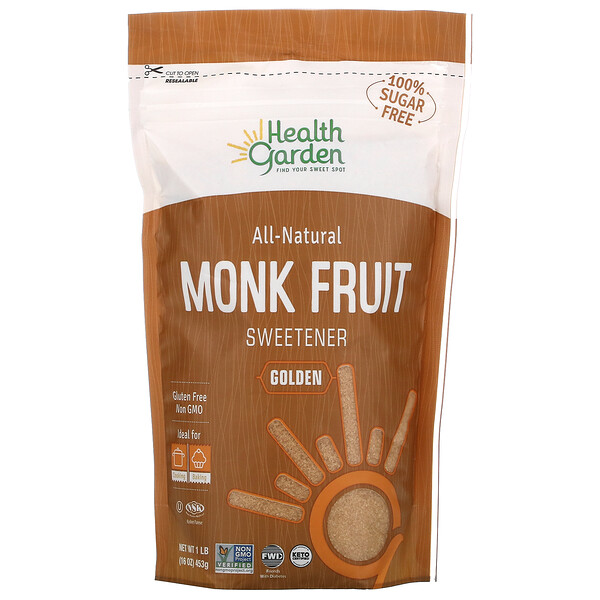 Health Garden, All Natural Monk Fruit Sweetener, Golden, 16 oz (453 g)