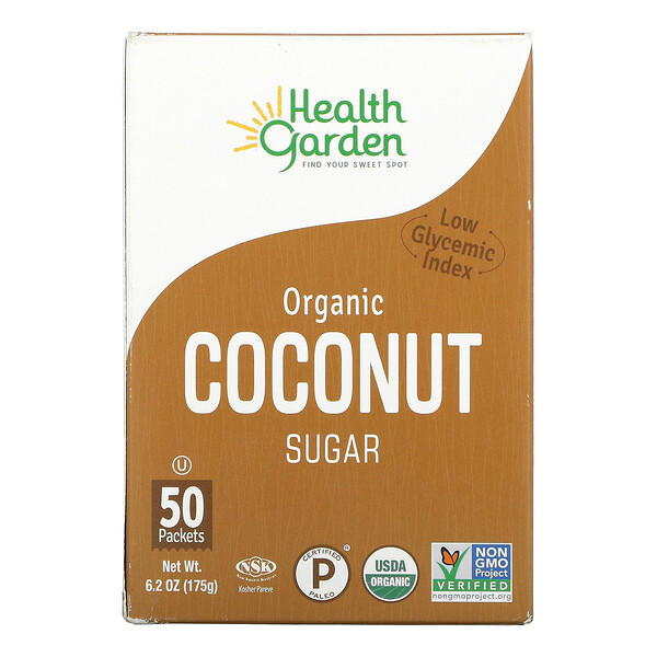 Health Garden, Organic Coconut Sugar, 50 Packets, 6.2 oz (175 g)