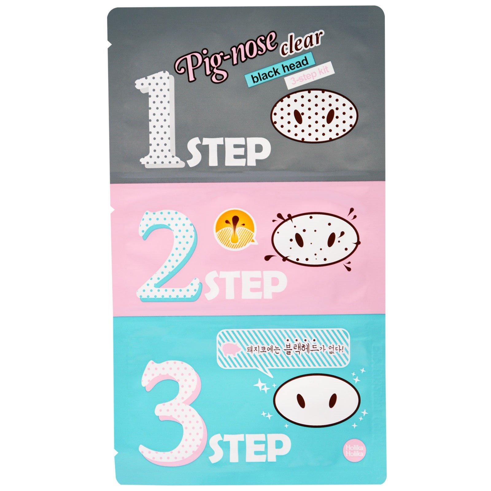 Holika Pig Nose Clear Blackhead 3 Step Kit 1 Treatment 5 Pure Essence Mask Sheet Shea Butter