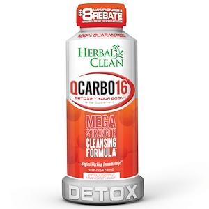 Herbal Clean, QCarbo16, детокс со вкусом манго и клубники, 16 ж.унций (473 мл)