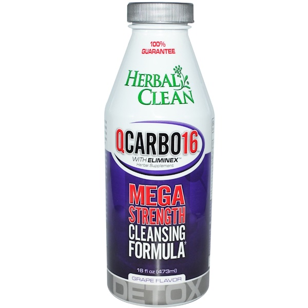 Herbal Clean, QCarbo16 with Eliminex, Mega Strength Cleansing Formula, Grape Flavor, 16 fl oz (473 ml) (Discontinued Item)