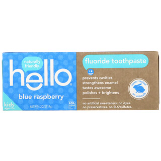 Hello, Kids, Fluoride Toothpaste, Blue Raspberry, 4.2 oz (119 g)