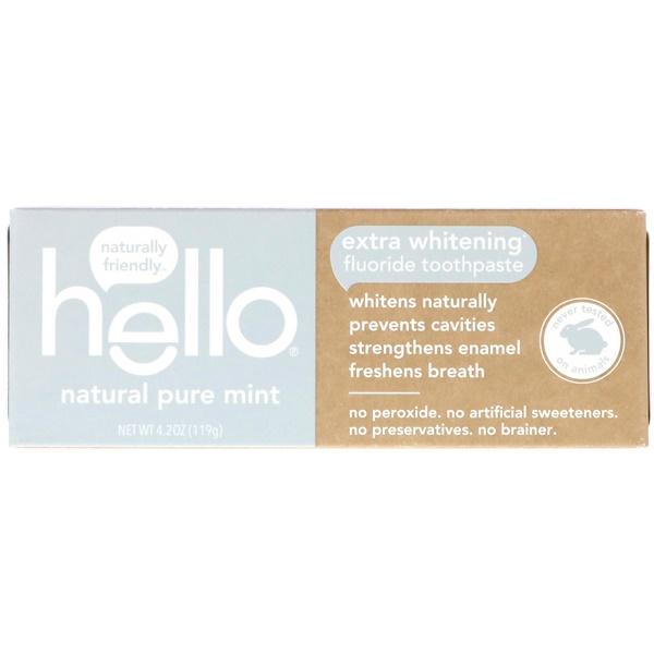 Hello, 超白氟化牙膏,天然純薄荷,4、2盎司(119克)