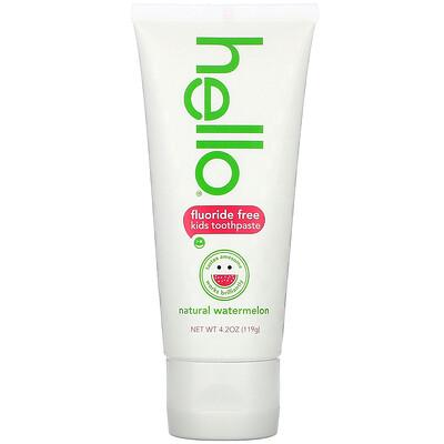 Купить Hello Детская зубная паста без фтора, натуральный арбуз, 119 г (4.2 oz)