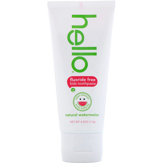 Hello, Kids, Fluoride Free Toothpaste, Natural Watermelon, 4.2 oz (119 g)