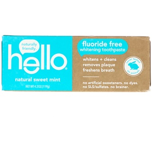 Hello, Fluoride Free Whitening Toothpaste, Natural Sweet Mint, 4.2 oz (119 g) отзывы